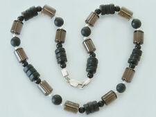 Collier aus Onyx - Rauchquarz und Perlen - Halskette - Silberkette - Onyxkette