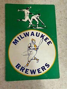 "Fleer 1970's Milwaukee Brewers Cardboard Sign   11 1/2"" x 7 3/4"""