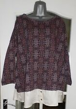 Marks & Spencer Burgandy Mix Ladies Top with Shirt Tail - Size 12 - NEW/TAG
