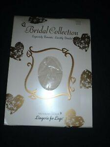 Vintage VICTORIAS SECRET Bridal Collection Cream Pantyhose LARGE Lace New