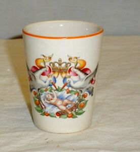 Petrus Regout & Co. Maastricht Royal Baby Cup Tumbler Storks Crown