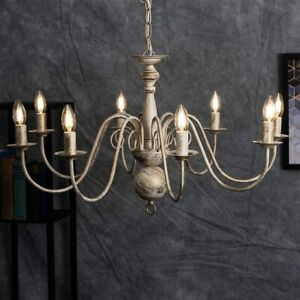 Gothica Flemish Style 5 Way Ceiling Light Chandelier Distressed White 24067