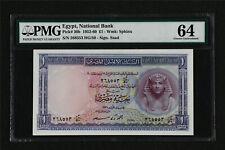 1952-60 Egypt National Bank 1 Pound Pick#30b PMG 64 Choice UNC