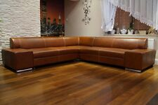 Rindsleder Echtleder Ecksofa 277 x 277cm Echt Leder Sofa Couch Braun Eckcouch