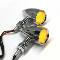 Amber Chrome Motorcycle LED Turn Signals Lights For Harley XL Sportster 1200 883