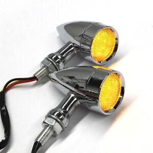 Chrome Motorcycle LED Turn Signal Brake Blinker Amber Lights For Harley Davidson