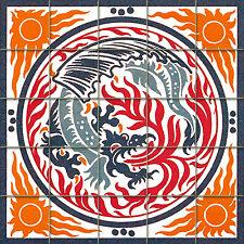 20 x 20 Art Nouveau Mural Tumbled Marble Backsplash Dragon Decor Tile #511