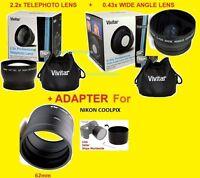 0.43x WIDE ANGLE + 2.2x TELEPHOTO LENS 62mm+ADAPTER NIKON L820 L830 L840 COOLPIX