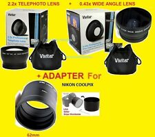0.43x WIDE ANGLE + 2.2x TELEPHOTO LENS 62mm+ADAPTER  NIKON L820 COOLPIX 62 mm