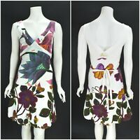Womens Desigual A-Line White Dress Cotton Floral Print V-Neck Belted Size S