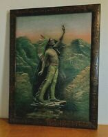 Indian Warrior Print in Grain Painted and Engraved Vintage Frame