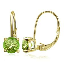 Yellow Gold Flashed Sterling Silver Peridot Leverback Earrings