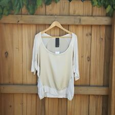 HEATHER -  BEIGE OFF THE SHOULDER SHIRT  NEW WITH TAGS LARGE