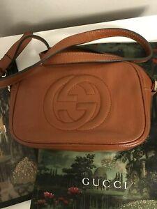 Gucci Bag Soho Disco Small Brown Leather GG Cross Body Crossbody Italy Dust Bag