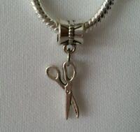 Scissors Hairdresser Dangle Bead for Silver European Charm Bracelets Or Clip On