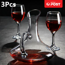 AU 1700L Crystal Glass Wine Decanter Carafe Elegant Pourer Container + 2 Cups