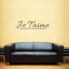 Je Taime Inspirational Quote French Wall Art Sticker Decal Brown Large