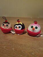 Set 3 TY Christmas Baby Beanie Boos Cupcakes plush ornaments COCO FLAKES GELATO