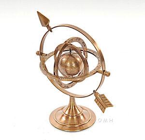 "Armillary Dial Sphere 8.5"" Solid Brass World Globe Desk Table Top Nautical Decor"