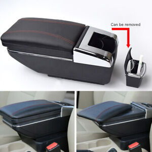 Black Car Truck Central Container Armrest Box PU Leather Center Storage Case Kit