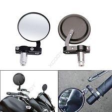 "CNC Motorcycle Handle Bar End Mirrors Rearview Round 7/8"" Convex 2x For Kawasaki"
