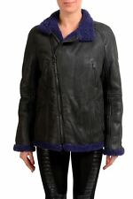 Just Cavalli Women's Black Full Zip Shearling Jacket Coat US S IT 40