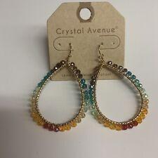 Crystal Avenue Teardrop Hoops Earrings Multicolored Women Fashion Jewelry