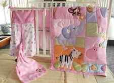 9 Pcs Girl Baby Bedding Set Zoo Animals Nursery Quilt Bumper Sheet Crib Skirt