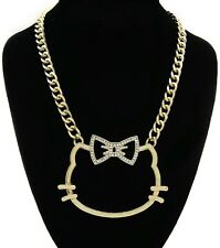 Bling Hello Kitty Statement Link Chain Choker Necklace Great Gift for Girls Kids