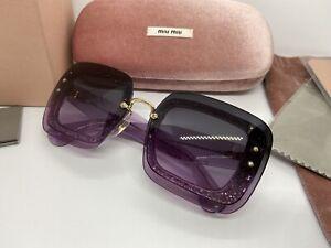 MIU MIU 67mm Acetate Glitter Gradient Sunglasses MU01RS Purple