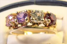 Vintage Acrostic 4 Stone 10 K Yellow Gold Mothers Sz 7 Dinner Ring