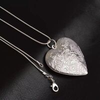 Solid 925 Sterling Silver Vintage Love Heart Locket Necklace + Gift Box