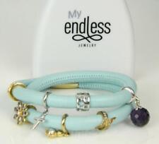 "ENDLESS Light Blue Leather Double Wrap Sterling Silver 8 Charm Bracelet 6.25"""
