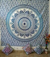 Mandala Ombre Flower Blue Queen Tapestry Bedcover Cotton Wall Hanging Indian Art
