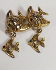 ESTATE VINTAGE SIGNED GERRY'S PIN FISH FAMILY OF 4 DANGLE BABIES RHINESTONE