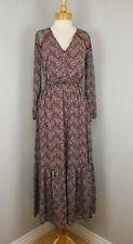 Hippie Boho Vintage 70s Inspired Chiffon Red Paisley Ruffle Maxi Dress Small