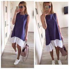 Summer Dresses Casual Loose Patchwork Sleeveless Ruffles O-Neck Mini Dress Fashi