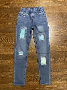 Justice Girls Mid Rise Legging Jeans Sequin Patches Size 10