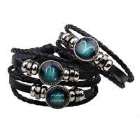 Handmade Unisex 12 Constellation Zodiac Round Pendant PU Leather Bangle·Bracelet