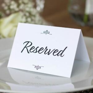 4 Reserved Wedding Cards   Traditional Place Cards Seating Party Table Signs