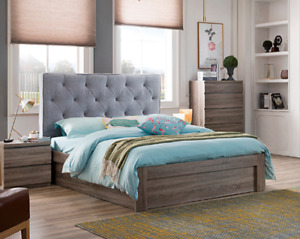 Enya Light Grey KING Bed with Upholstered Cushion Headboard Drawer Base Frame