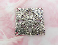 ANTIQUE SILVER (3 Pieces) Embossed Filigree Flower CONNECTOR 4 Holes (FA-6056) *