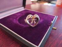 Hübscher 925 Silber Ring Jugendstil Art Deco Herz Band Vintage Retro Top