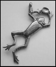PEWTER CHARM #1010 LEAPING FROG (35mm x 60mm) 1 bail & crystal cavity