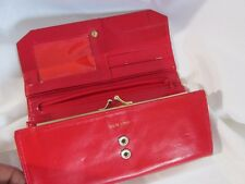 Vintage Gen. Leather Red Wallet Clutch Womans Groovy Retro Shabby Chic Style #40
