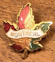 Vintage Montreal Gold Tone Maple Leaf Lapel Hat Pin Pinback ~ Canada ~ Canadian