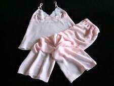 Womens Cami Pyjamas XXL Lacy Pink Chiffon Long PJs Sexy Lingerie Camisole Set