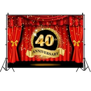 40th Anniversary Backdrop Red Curtain Adult Birthday Party Photo Background