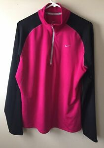 NIKE Womens Size XL Running  Dri-Fit Long Sleeve 1/4 Zip Pullover Jacket Pink