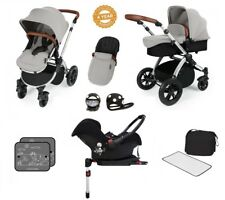 Ickle Bubba Stomp V3 Isofix AIO Travel System with Buggy Lights/Silver on Silver